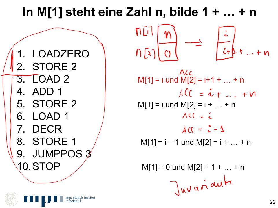 In M[1] steht eine Zahl n, bilde 1 + … + n